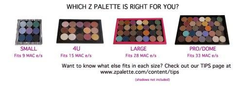 Z Palette Sizes