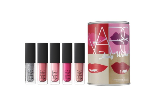 Kiss Mini Larger Than Life Lip Gloss Coffret, features five new lip glosses in a soup-can container decorated with Warhol's lip print.