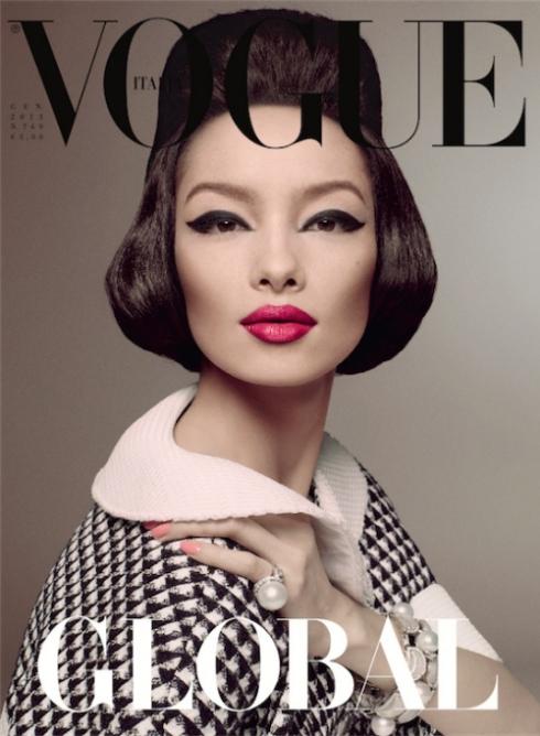 名模孫菲菲登上2013義大利版《Vogue》封面,由黃金搭檔Pat McGrath與Steven Meisel共同合作。(圖/WWD)
