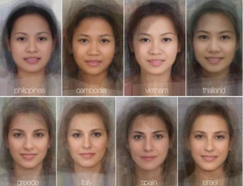 Hundreds of images of women's faces were laid on top of each other before a computer programme created the average around a focal point of their eyes
