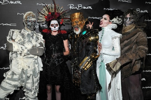 Baker, center, with models from the campaign for the M·A·C Rick Baker Collection