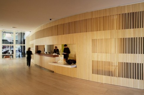 Reception desk and meeting rooms by John Pawson