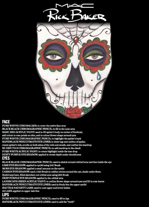 M·A·C x Rick Baker Halloween 2013- Look 1: Day of Dead Face Chart