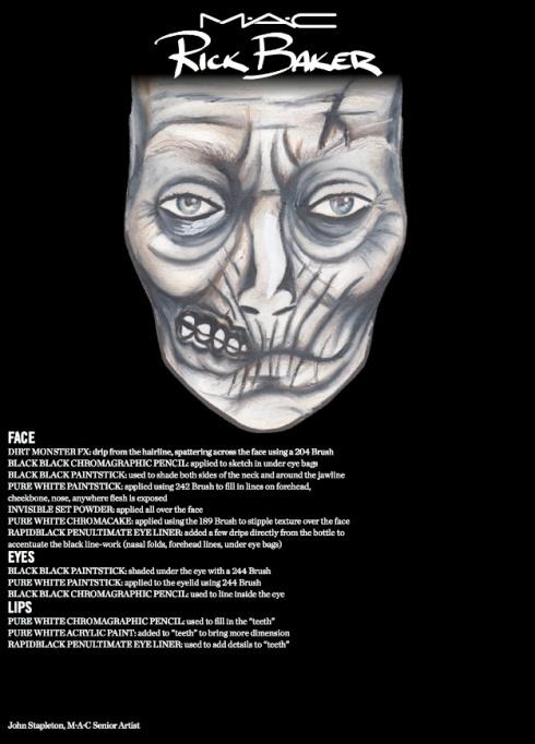 M·A·C x Rick Baker Halloween 2013- Look 2 Face Chart:  Zombie