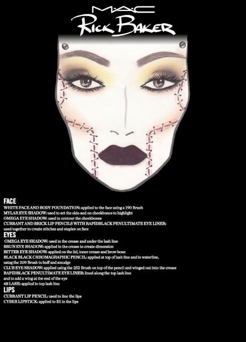 M·A·C x Rick Baker Halloween 2013- Look 3: Bride Face Chart