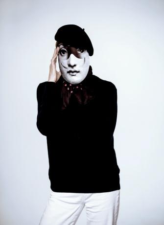 Fornasetti mask worn by Vogue's Tonne Goodman