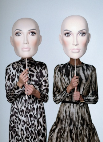 Lanvin masks worn by Vogue's Kelly Connor and Chelsea Zalopany