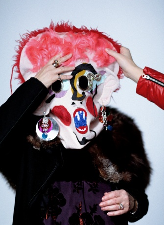 Meadham Kirchhoff mask worn by Vogue's Lynn Yaeger