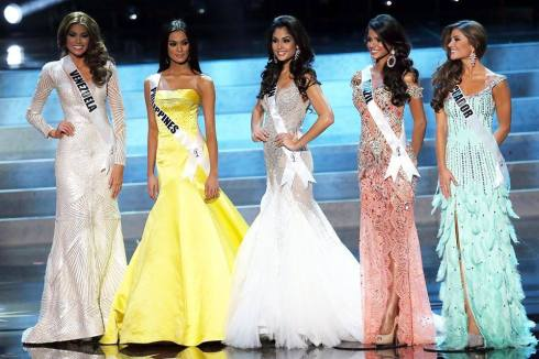 Miss Universe 2013 Top 5: (L to R) Miss Venezuela - crowned Miss Universe 2013, Miss Philippines - Third Runner Up, Miss Spain - First Runner Up, Miss Brazil - Fourth Runner Up, and Miss Ecuador - Second Runner Up