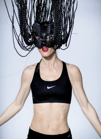 Nike mask worn by Hilary Rhoda