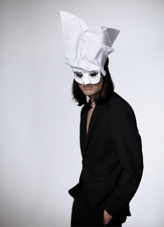 Olivier Theyskens mask worn by the designer