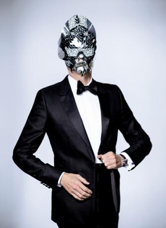 Pat McGrath mask worn by Vogue's Hamish Bowles