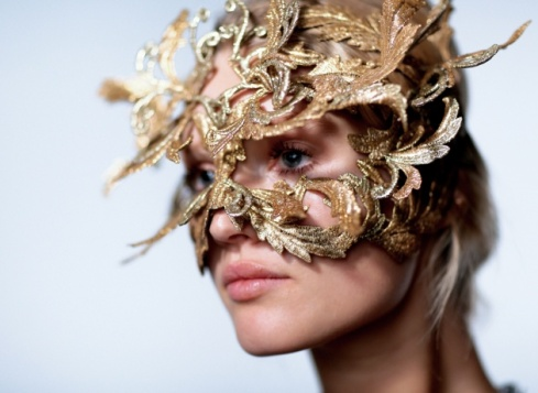 Philip Treacy mask worn by Toni Garrn