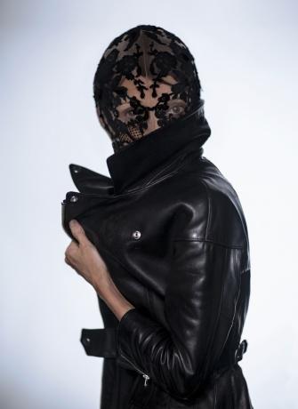Sarah Burton for Alexander McQueen mask worn by Vogue's Camilla Nickerson