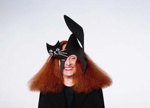 "Stephen Jones ""The Fashion Pussycat"" mask worn by Grace Coddington"