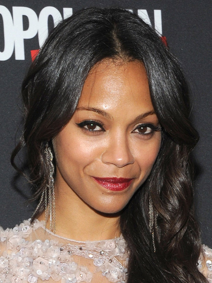 Zoe Saldana - Winged Liner and Red Lips