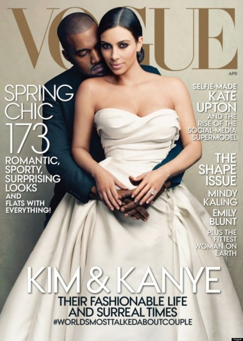 Kim Kardashian abd Kanye West on VOGUE US Cover April-2014