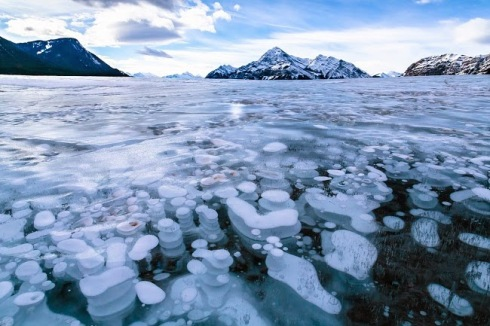 Frozen Air Bubbles in Abraham Lake 3