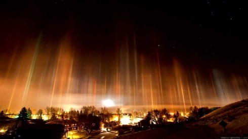 Light Pillars Over Moscow 2