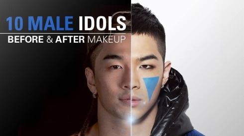 10 Korean Male Pop Idols Before & After Makeup