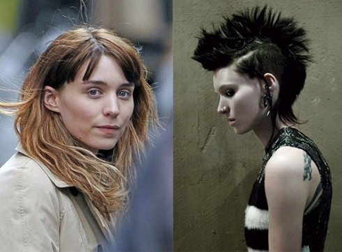 Pat McGrath將女星魯妮瑪拉Rooney Mara(圖左)改造為身上有鼻環、刺青,造型龐克的《龍紋身的女孩》(圖右)。(圖/A.G.NAUTA COUTURE)