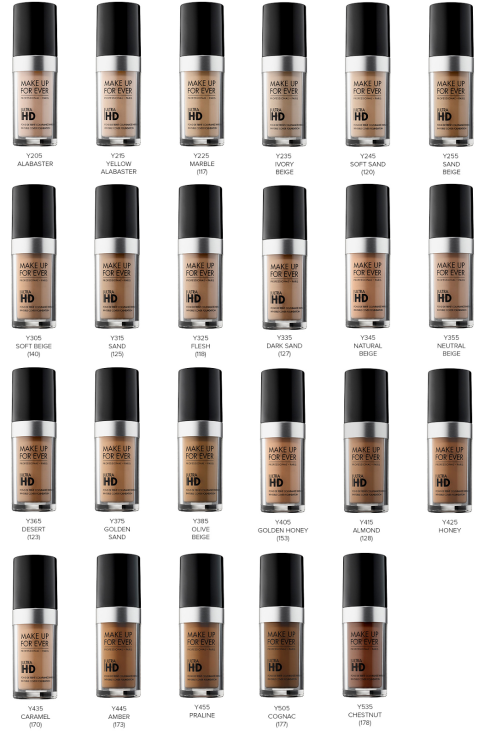 MAKE UP FOR EVER Ultra HD Foundation-05 Shade Chart