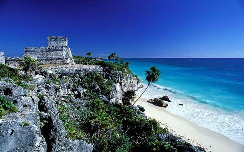Tulum, Mayan archaeological site of El Castillo, in Quintana Roo.Mexico